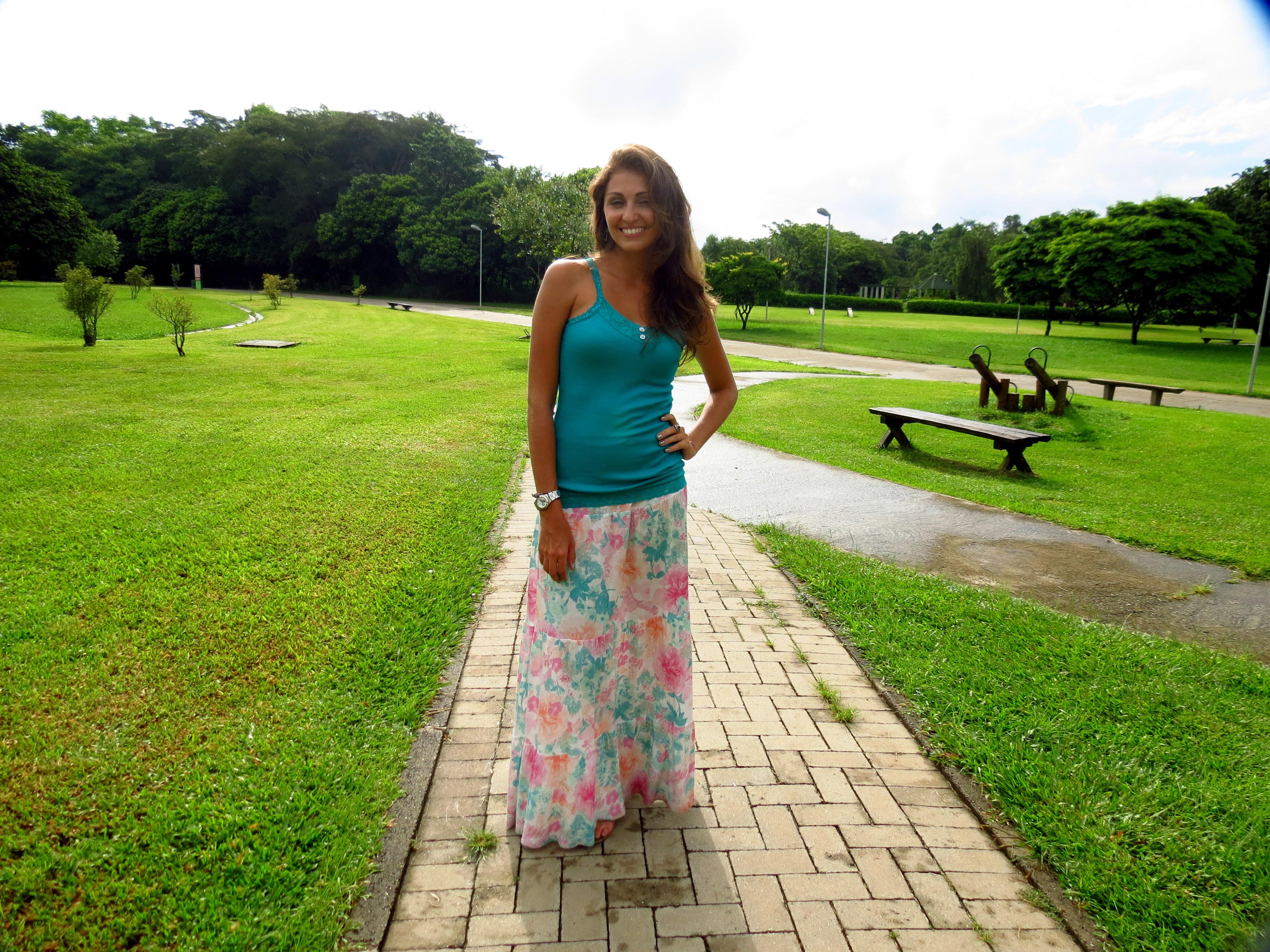 Saia Longa Pink Verde Parque Taci Carol