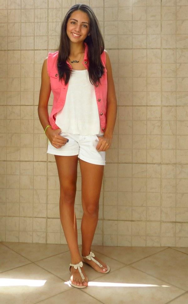 Como usar max colete jeans rosa pink jovem adolescente menina