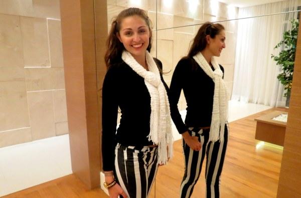 look com calça p&b preto e branco lista listra simples basico normal trabalho trabalhar mulher frio tricot lã cachicol