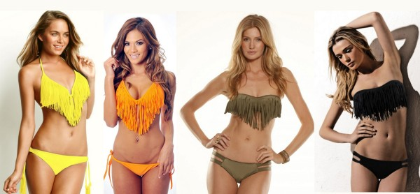 coleçao trend biquínis de franja parte de cima e de baixo tomara que caia cortininha modelos como usar valorizar o corpo verão 2013/2-14