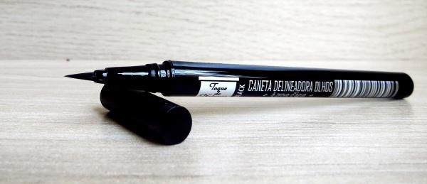 resenha review testei é bom é ótimo é ruim boa caneta delineadora delineador em caneta preto preta black marca boa barata toque de natureza nacional vale a pena